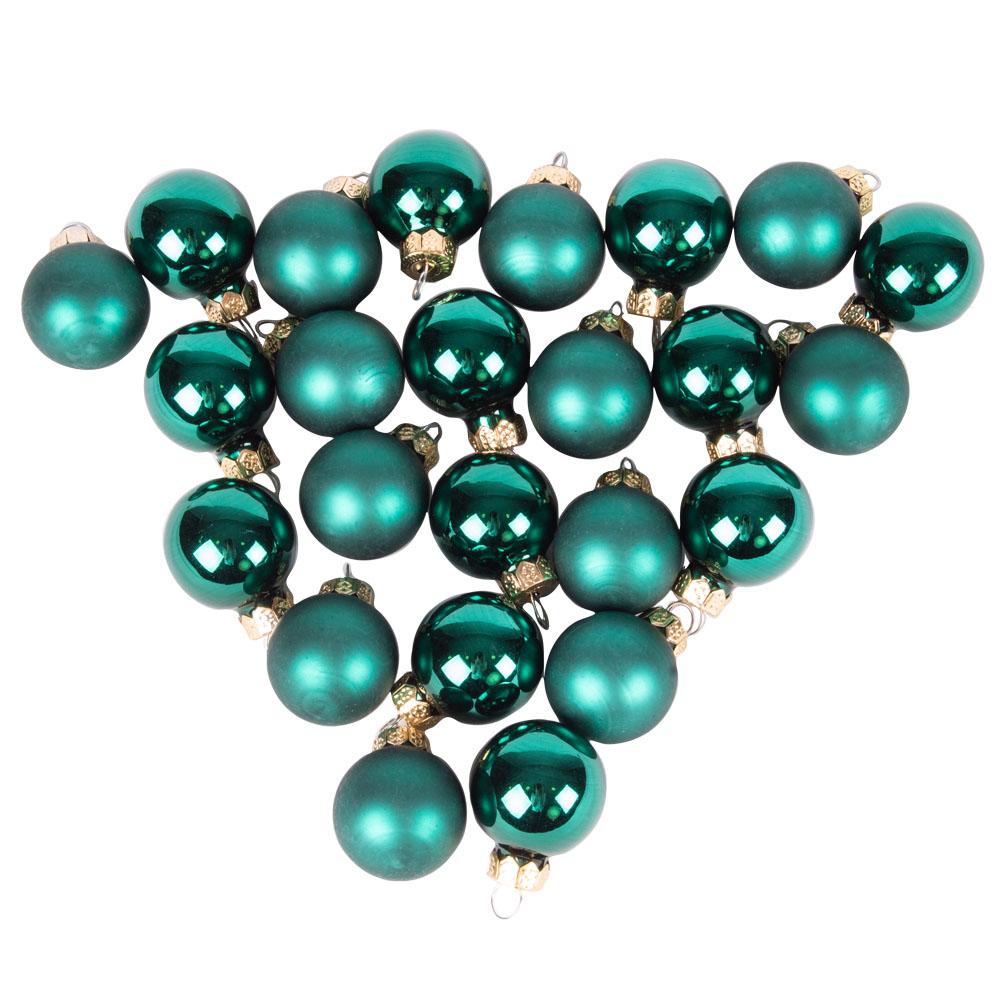 Emerald Green Matt & Shiny Glass Baubles - 24 X 25mm