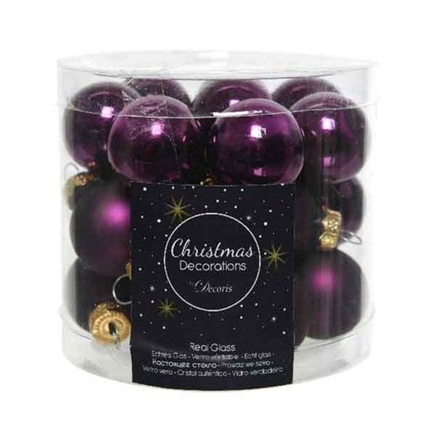 Royal Purple Matt & Shiny Glass Baubles - 24 X 25mm