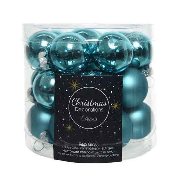 Turquoise Matt & Shiny Glass Baubles - 24 X 25mm