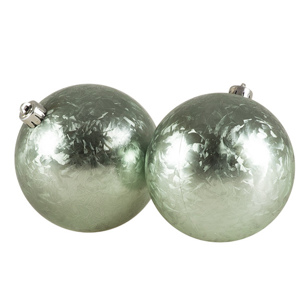 Pale Sage Green Ice Lacquer Finish Shatterproof Baubles - 2 x 100mm