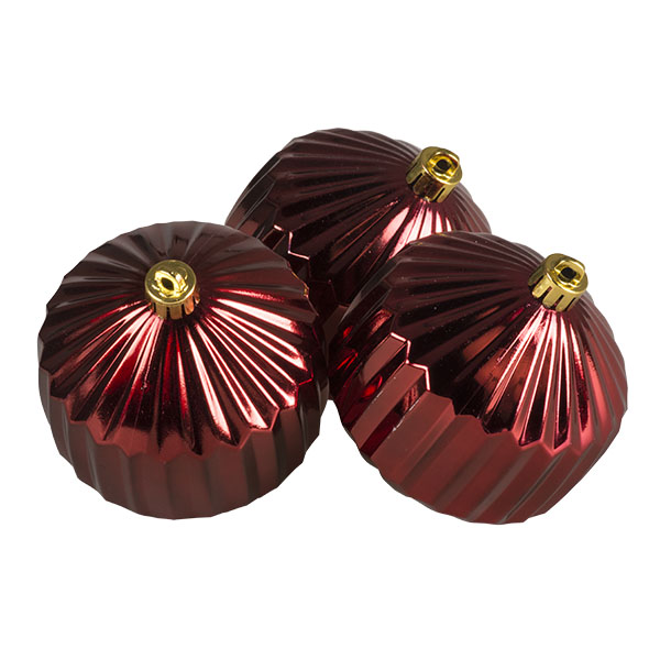Dark Red Geometric Shaped Ribbed Shatterproof Baubles - Pack of 3 x 80mm