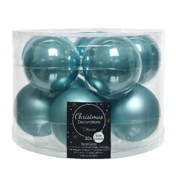Tub Of Arctic Blue Shiny & Matt Glass Baubles - 10 X 60mm