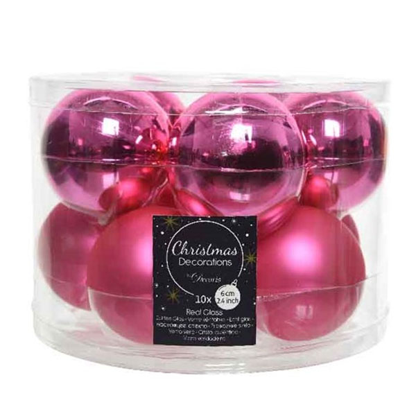 Tub Of Bubblegum Pink Shiny & Matt Glass Baubles - 10 X 60mm