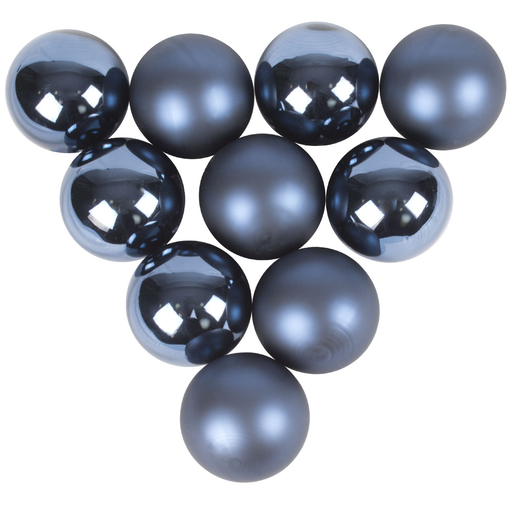Tub Of Night Blue Shiny & Matt Glass Baubles - 10 X 60mm