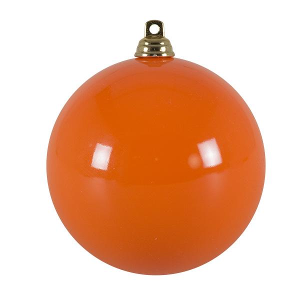 Bright Orange Gloss Finish Shatterproof Bauble - 80mm