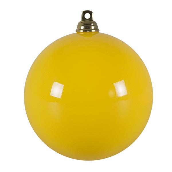 Bright Yellow Gloss Finish Shatterproof Bauble - 80mm