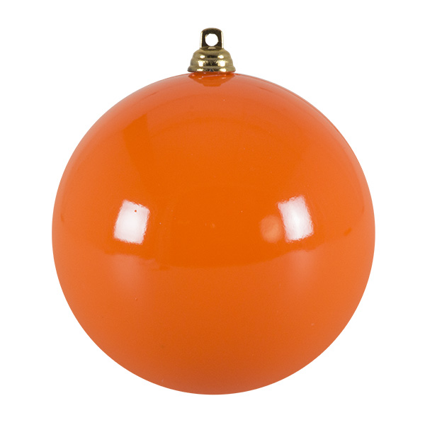 Bright Orange Enamel Finish Shatterproof Bauble - 100mm (021-29352-100-OR)
