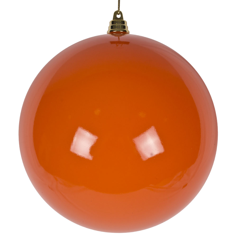 Bright Orange Enamel Finish Shatterproof Bauble - 140mm