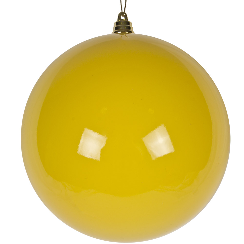 Bright Yellow Enamel Finish Shatterproof Bauble - 140mm