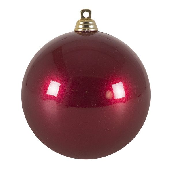 Burgundy Metallic Finish Shatterproof Bauble - 80mm