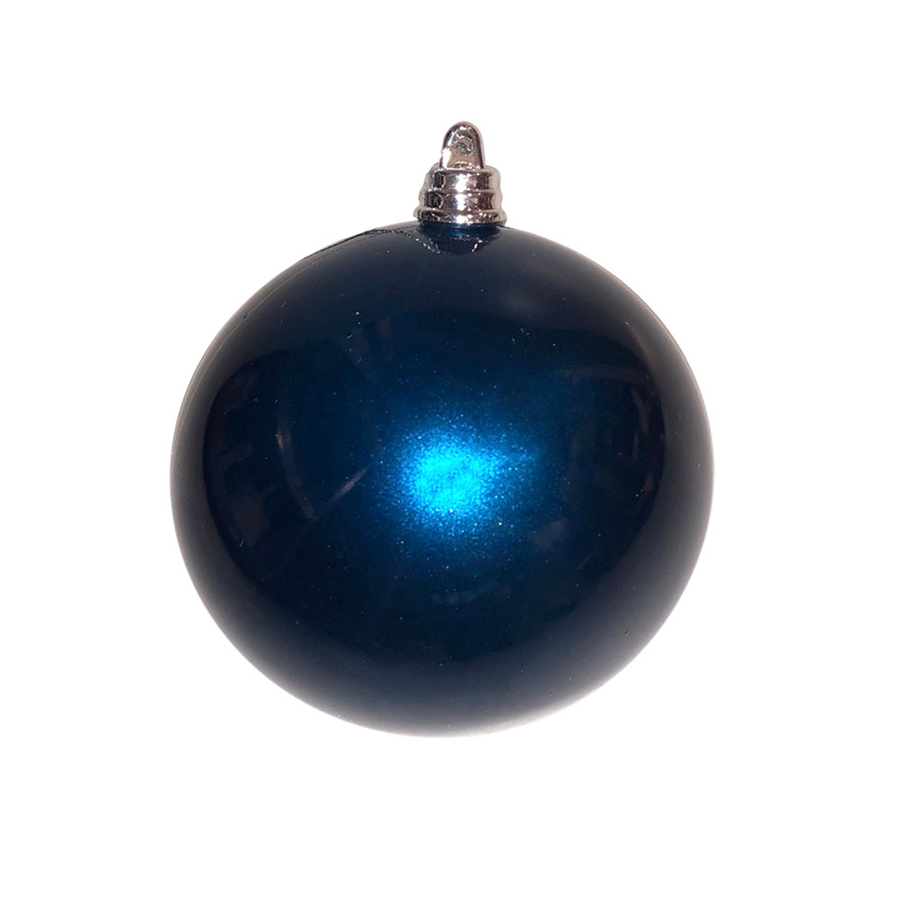 Dark Blue Metallic Finish Shatterproof Bauble - 80mm