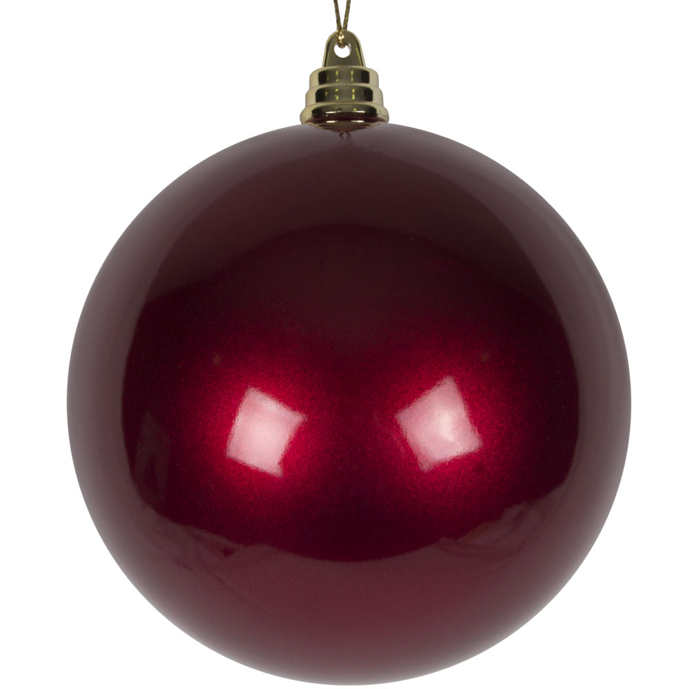 Burgundy Metallic Finish Shatterproof Bauble - 100mm