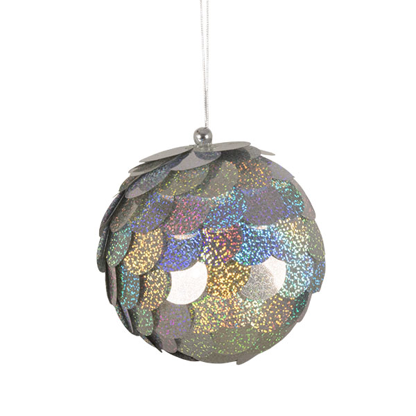 Large Silver Sequin Bauble - 150mm