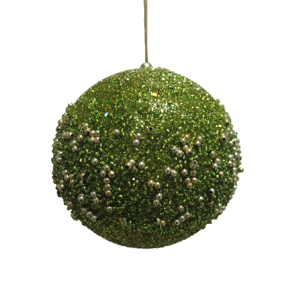 Olive Green Glitter Beaded Bauble - 100mm