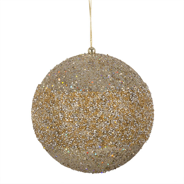 Platinum Glitter Beaded Bauble - 100mm