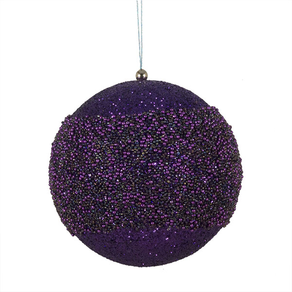 Purple Glitter Beaded Bauble - 100mm