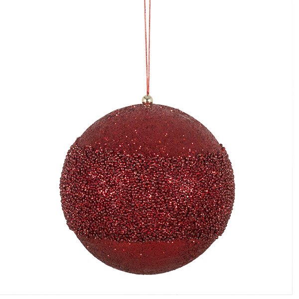 Red Glitter Beaded Bauble - 100mm