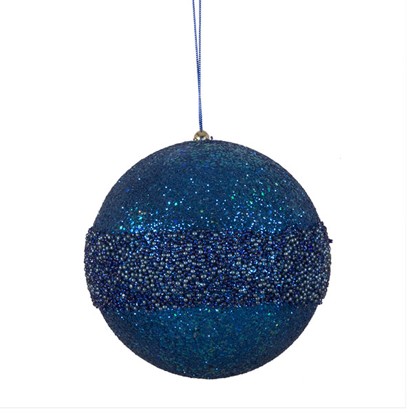 Blue Glitter Beaded Bauble - 175mm
