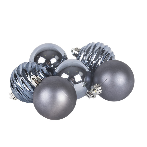 Pack Of Mixed Finish Steel Blue Shatterproof Baubles - 6 X 60mm