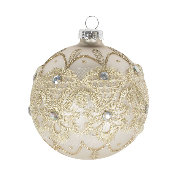 Matt Ivory Glass Bauble Decorated With Gold Glitter And Beads - Ball