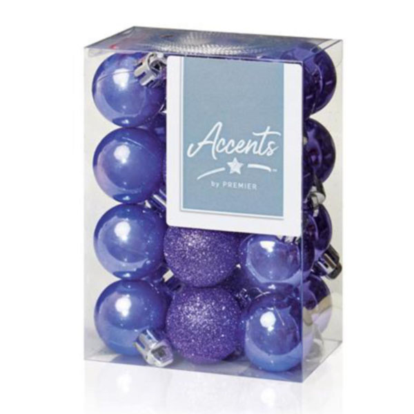 Lilac Mixed Finish Shatterproof Baubles - 24 X 30mm