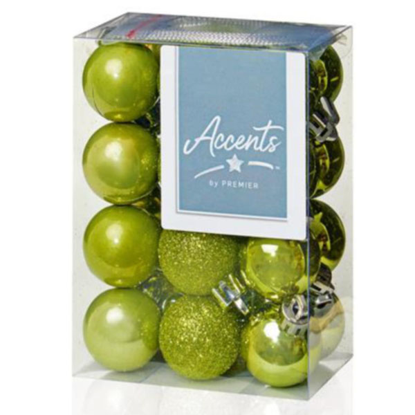 Olive Green Mixed Finish Shatterproof Baubles - 24 X 30mm