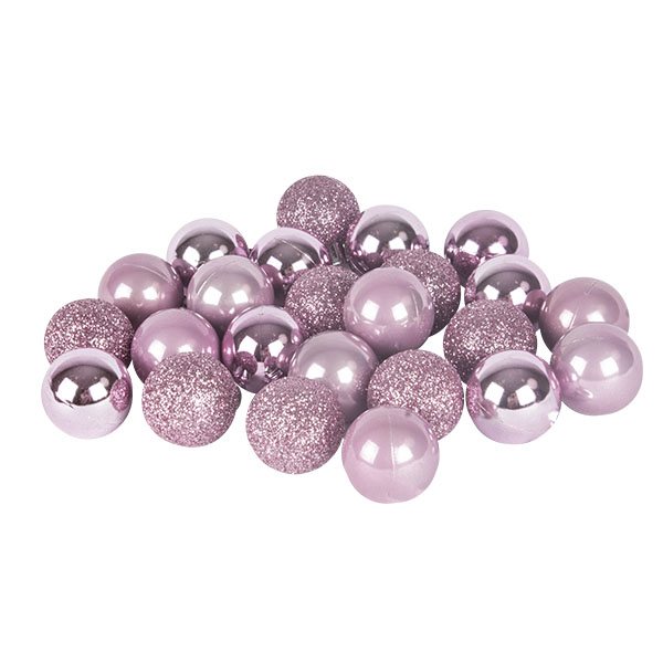 Pink Mixed Finish Shatterproof Baubles - 24 X 30mm
