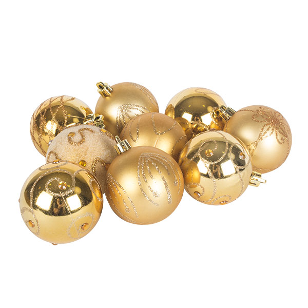 Pack Of Gold Decorated Shatterproof Baubles - 9 X 60mm