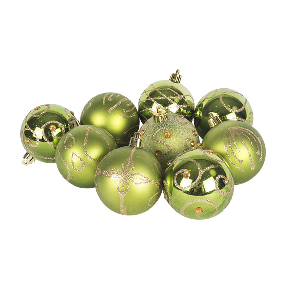 Pack Of Green Decorated Shatterproof Baubles - 9 X 60mm