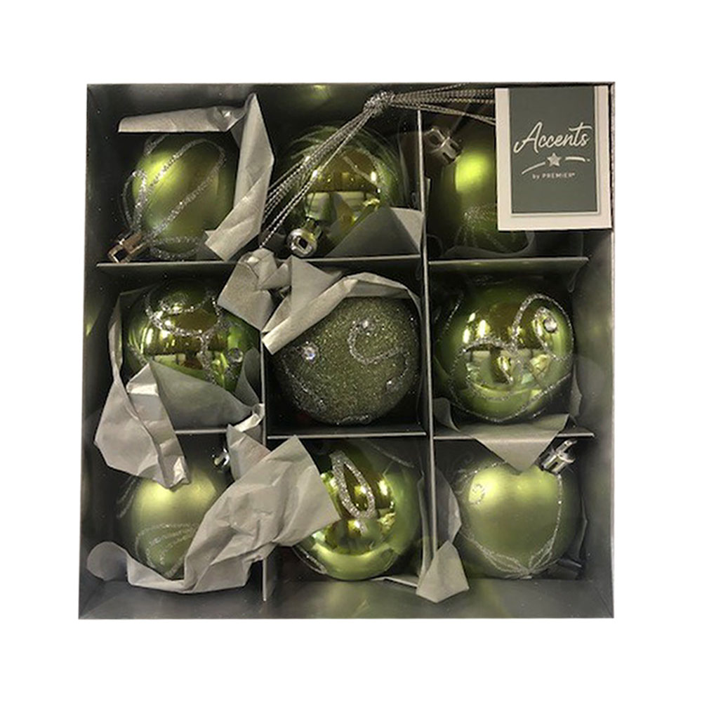 Pack Of Olive Green Decorated Shatterproof Baubles - 9 X 60mm