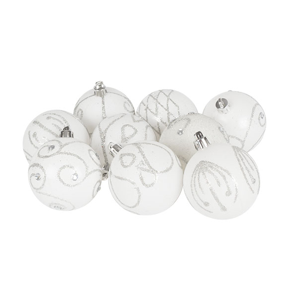 Pack Of White Decorated Shatterproof Baubles - 9 X 60mm