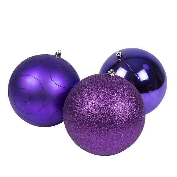 Pack Of 3 X 150mm Purple Shatterproof Baubles
