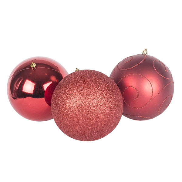 Pack Of 3 X 150mm Red Shatterproof Baubles