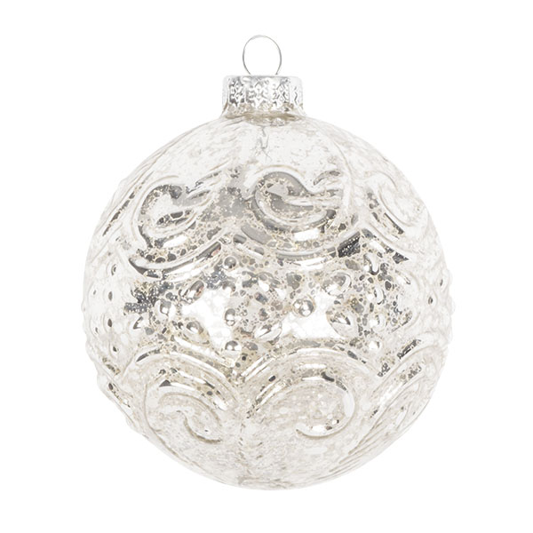 Decorative Silver Glass Bauble - 80mm