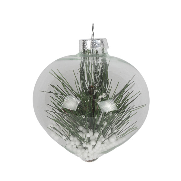 Clear Glass Bauble Range With Pine Sprig - Onion