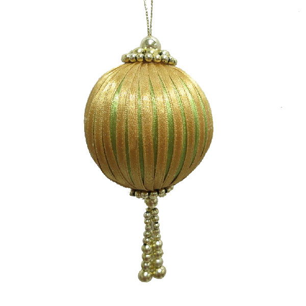 Beaded Olive Green & Gold Ribbon Bauble - 65mm