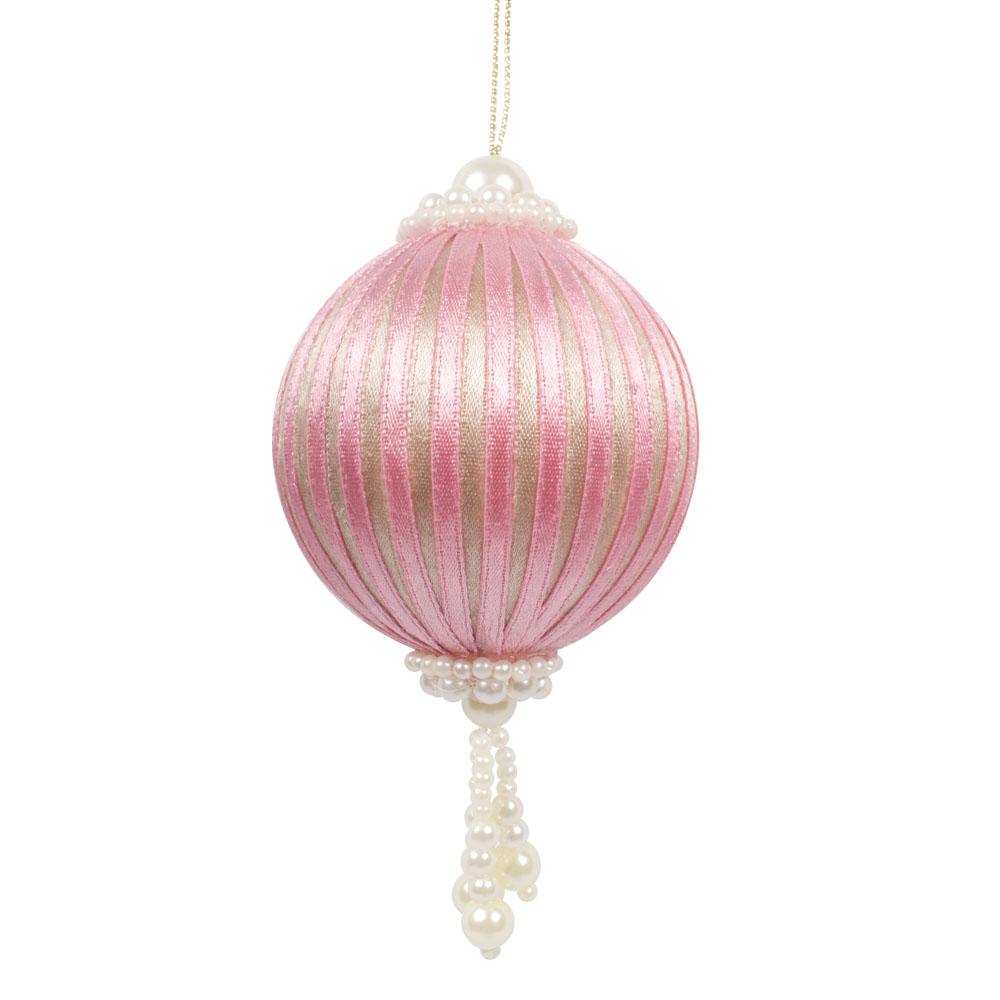 Beaded Pink & Platinum Ribbon Bauble - 65mm