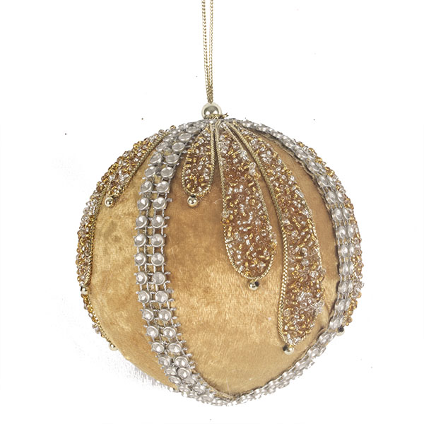 Gold, Platinum & Silver Velvet & Beaded Bauble - 100mm