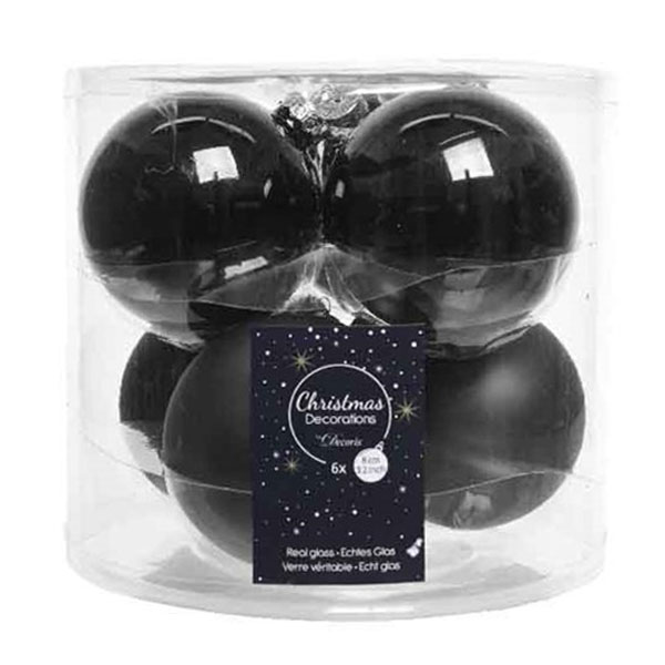 Tub Of Black Shiny & Matt Glass Baubles - 6 X 80mm