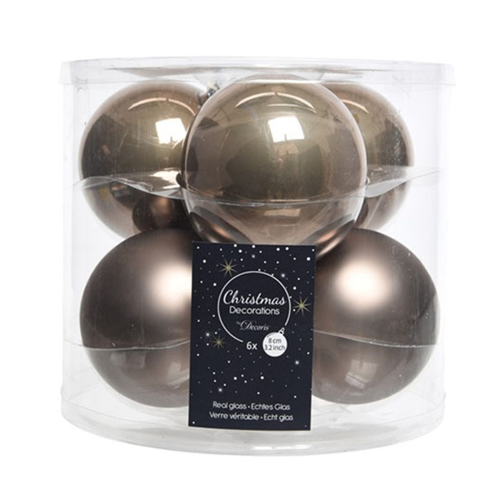 Tub Of Pale Brown Shiny & Matt Glass Baubles - 6 X 80mm