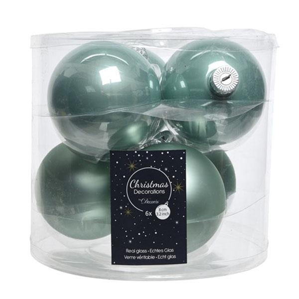 Tub Of Pale Sage Green Shiny & Matt Glass Baubles - 6 X 80mm