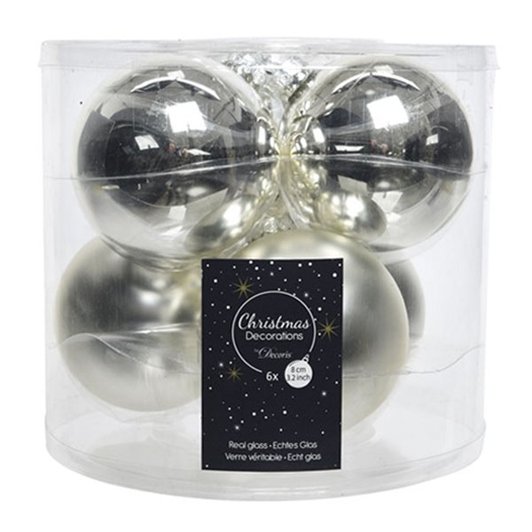 Tub Of Silver Shiny & Matt Glass Baubles - 6 X 80mm