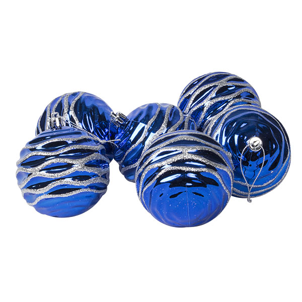 Bright Blue Rippled Shatterproof Baubles With Glitter Pattern - Pack of 6 x 80mm