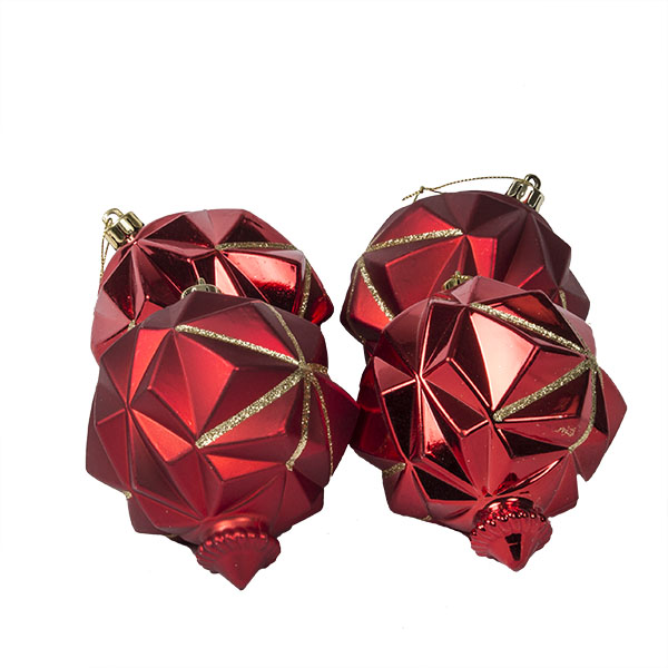 Red Geometric Finial With Gold Glitter Finish - Pack Of 4 X 90mm