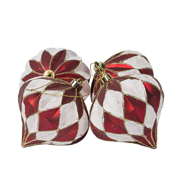 Red & White Shatterproof Segmented Onion Bauble - Pack Of 4 X 100mm