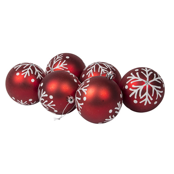 Red Shatterprrof Baubles With White Glitter Snowflake - Pack Of 6 X 80mm