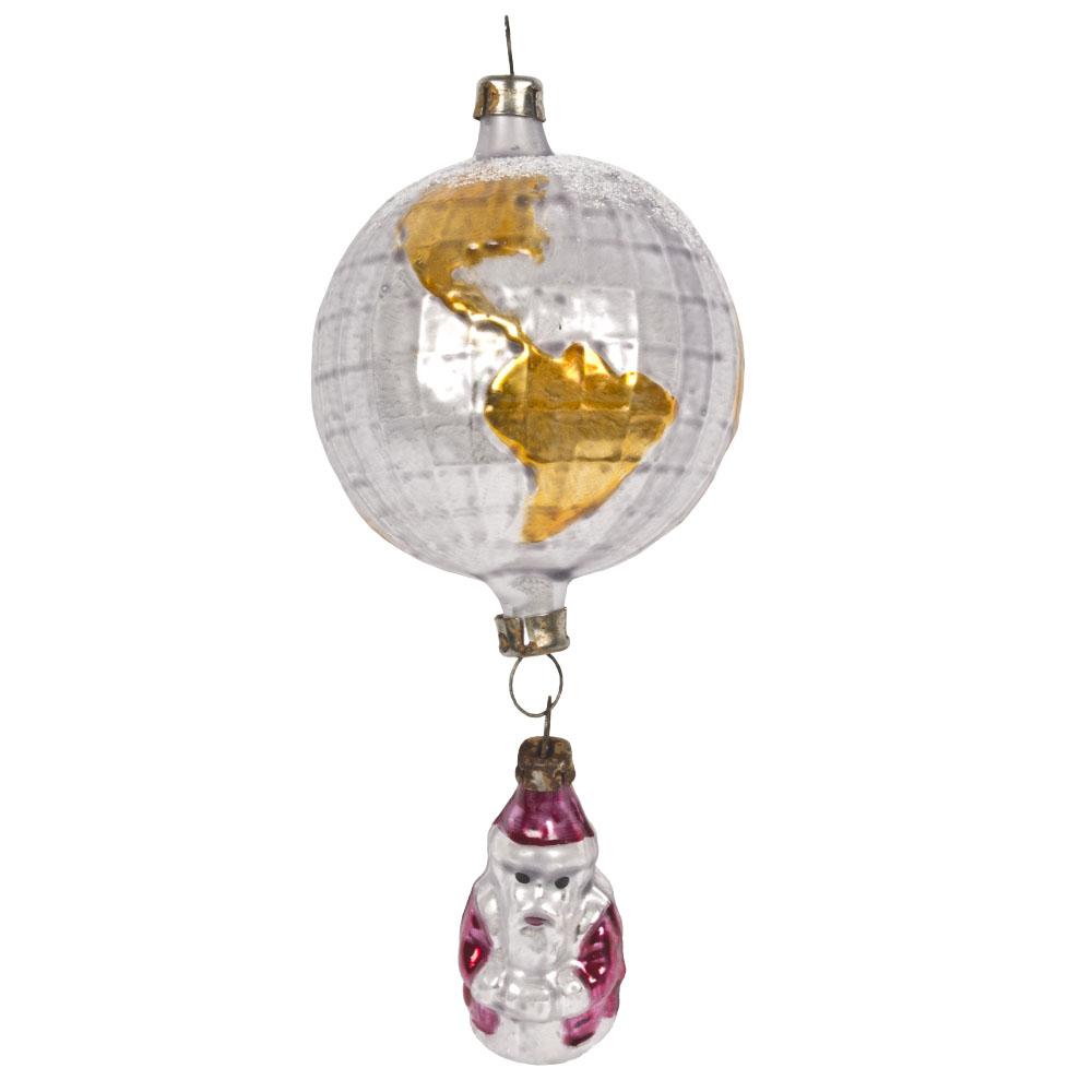 Nostalgic Handmade Glass Santa And Globe Collectable Christmas Bauble - 12cm