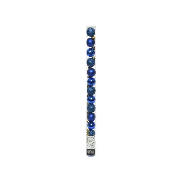 Tube Of Plain Cobalt Blue Shatterproof Baubles - 14 X 30mm