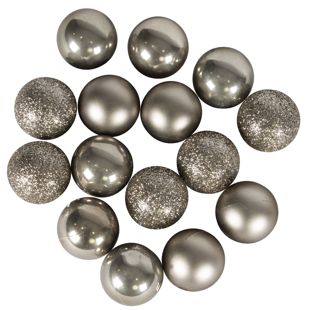 Tube Of Plain Dove Grey Shatterproof Baubles - 15 X 30mm