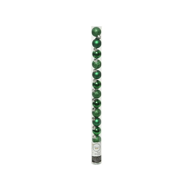 Tube Of Plain Holly Green Shatterproof Baubles - 14 X 30mm